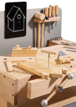 Holz Kinderwerkbank Detailaufnahme