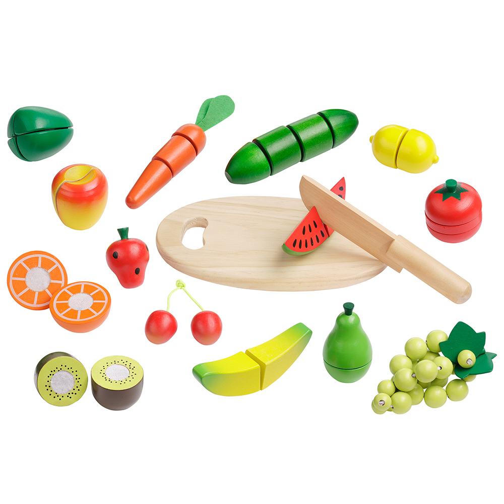 Schneideset aus Holz Gemüse obst schneiden