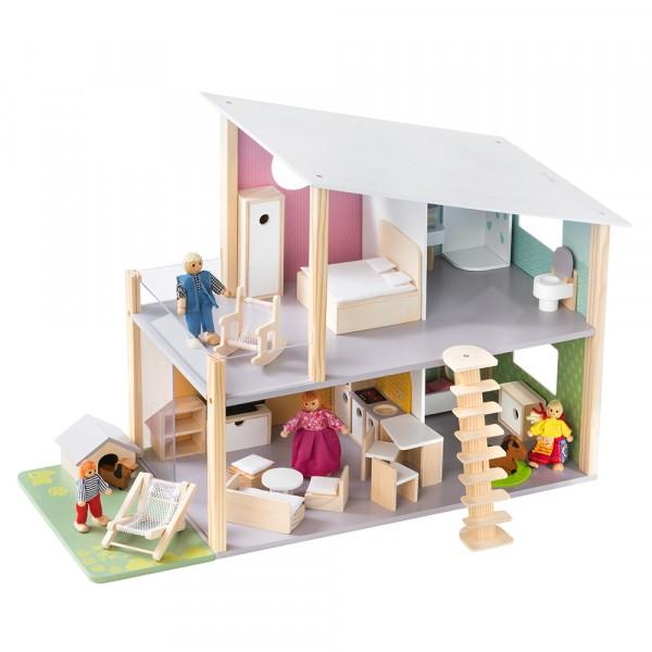 howa Maison de poupée en bois avec 23 jeu de meubles, 4 poupées et un chien 7015