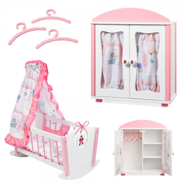 howa Puppenmöbel Set - Puppenwiege und Puppenschrank