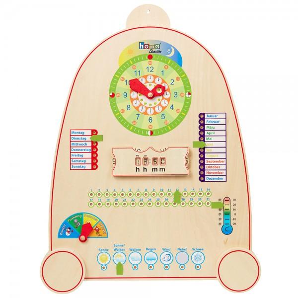 howa Lernuhr mit Kalender, Jahreszeiten und Wetter aus Holz