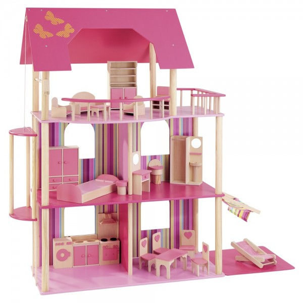 Puppenhaus für Ankleidepuppen incl. 22 tlg. Möbelset 70102