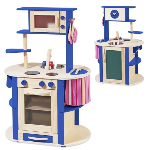 Spielküche rundum bespielbar natur/blau 48111