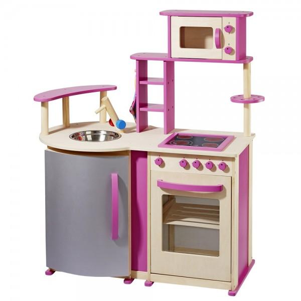 Spielküche mit vielen Details aus Holz natur/pink 4813