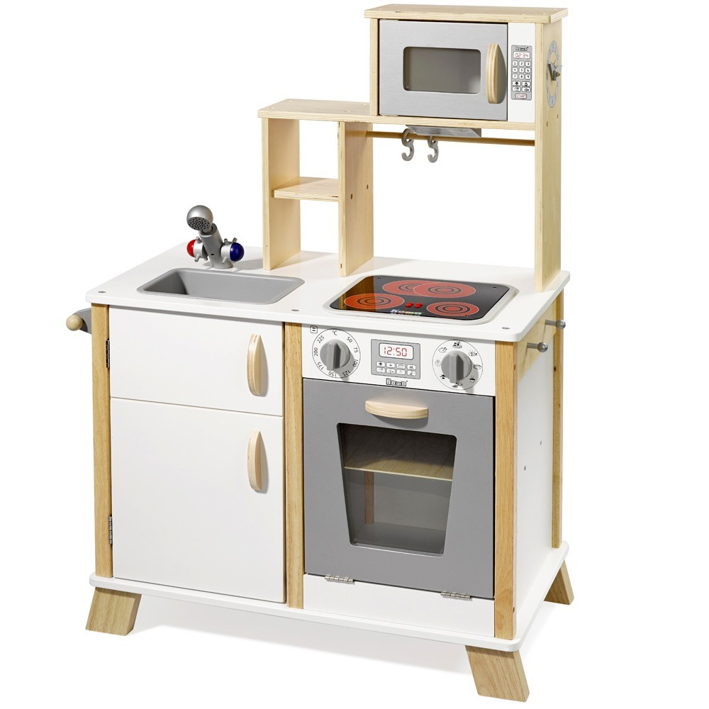 Howa wooden toy kitchen play kitchen chefkoch nature white with led cooking plates 4820 howa spielwaren
