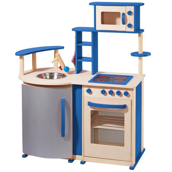 Spielküche mit vielen Details aus Holz natur/blau 48131