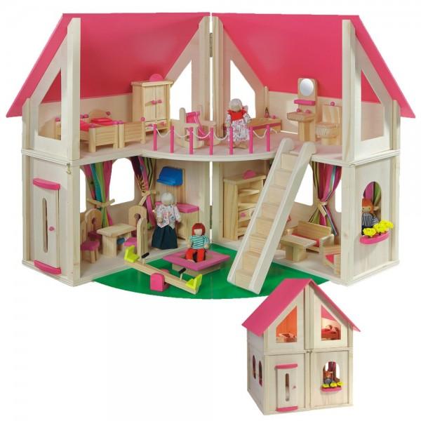 """Puppenhaus """"klappbar"""" inkl. 21 tlg. Möbelset und 4 Puppen 7013"""
