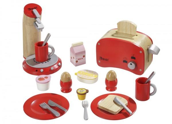 Frühstücksset aus Holz rot 48562