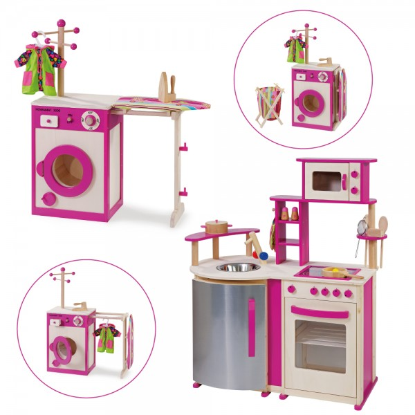 Spielküche und Kinderwaschmaschine aus Holz 14813