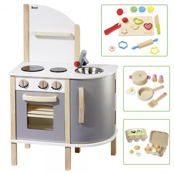 Spielküche aus Holz inkl. Küchenset, Knetset und Holzeier 14816