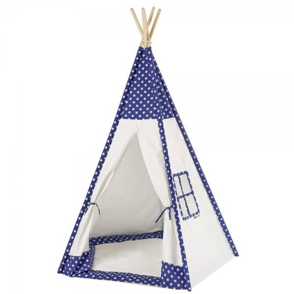 Tipi-Zelt Sterne weiß/blau inkl. Bodenmatte 8500